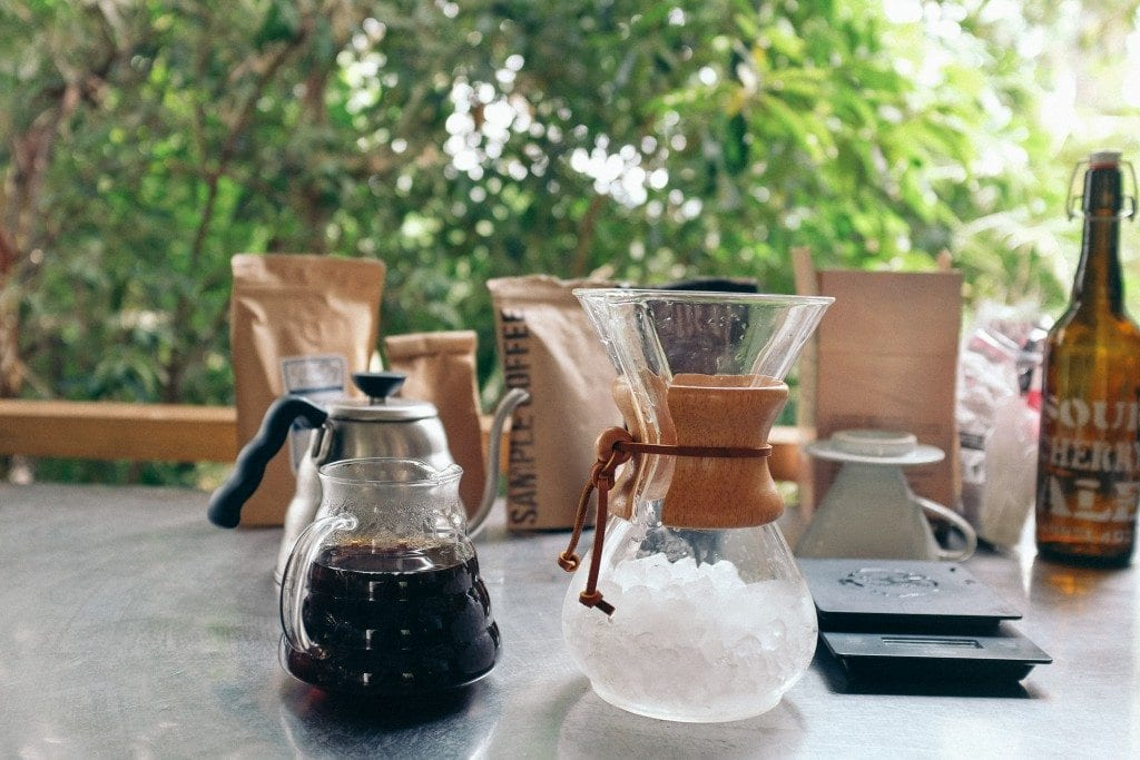 Iced coffee made by Chemex
