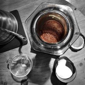 Aeropress coffee about ot be brewed