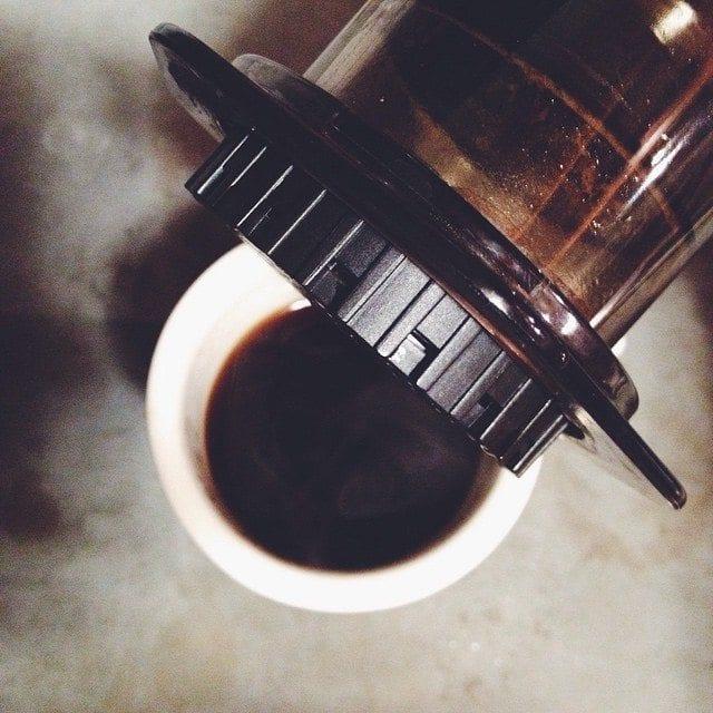 Freshly brewed aeropress coffee