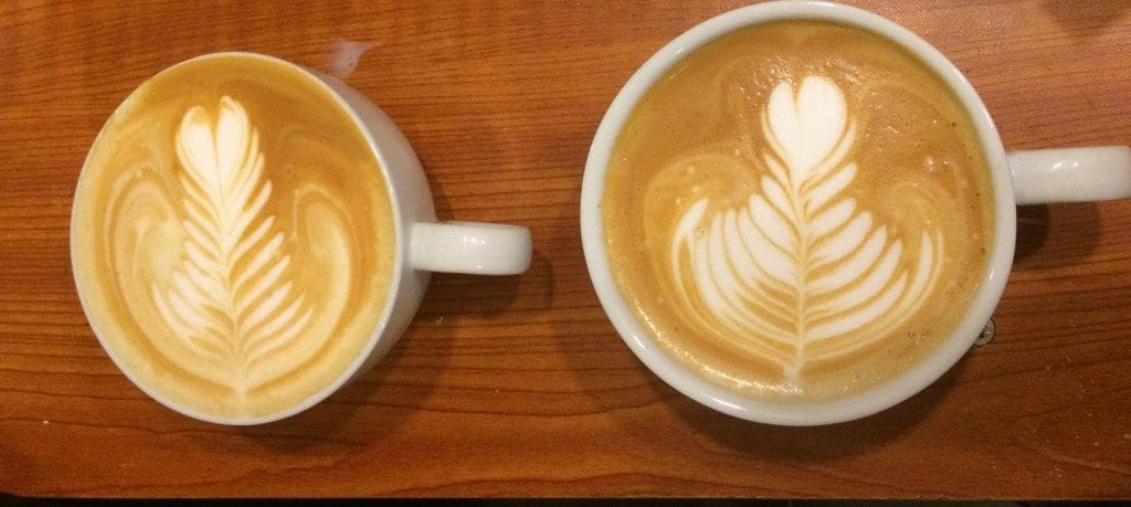 Lattes with latte art