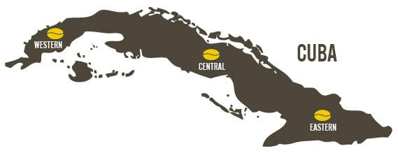 The three coffee regions of Cuba.