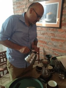 Chemex coffee being brewed