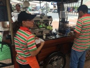The ICO Café cart offers a full variety of espresso coffee beverages in a mobile self-sustaining package.