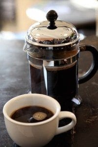 Freshly brewed coffee in the classic French Press