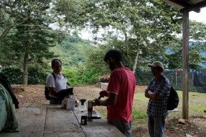 Aeropress coffee demonstration for workers at Finca Las Tacanas, Bolivia - Perfect Daily Grind Specialty Coffee Blog