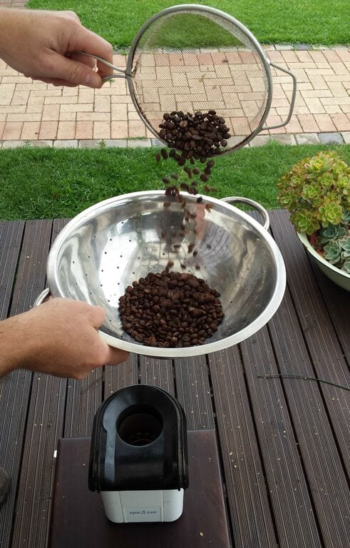 cooling off coffee beans