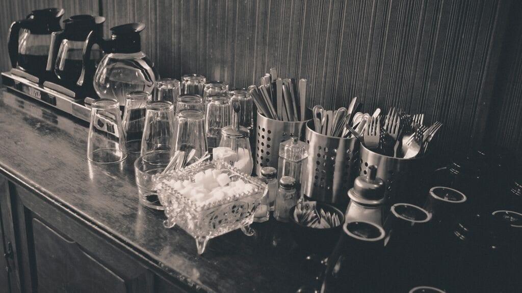coffee, sugar and cutlery