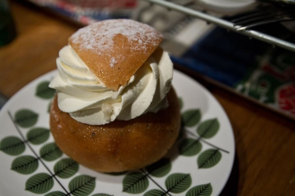 Semlor, cardamom spiced buns filled with marzipan
