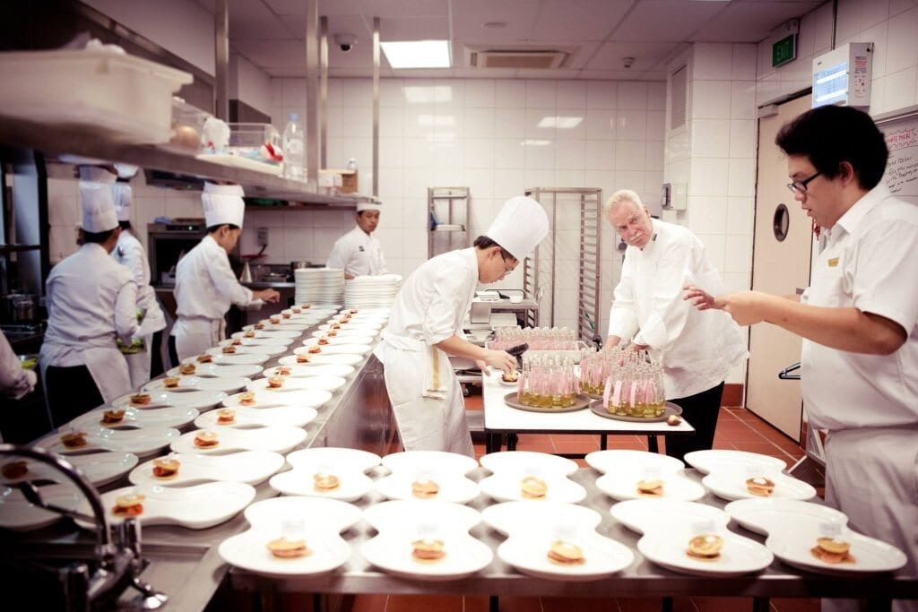 preparation in the kitchen of a restaurant