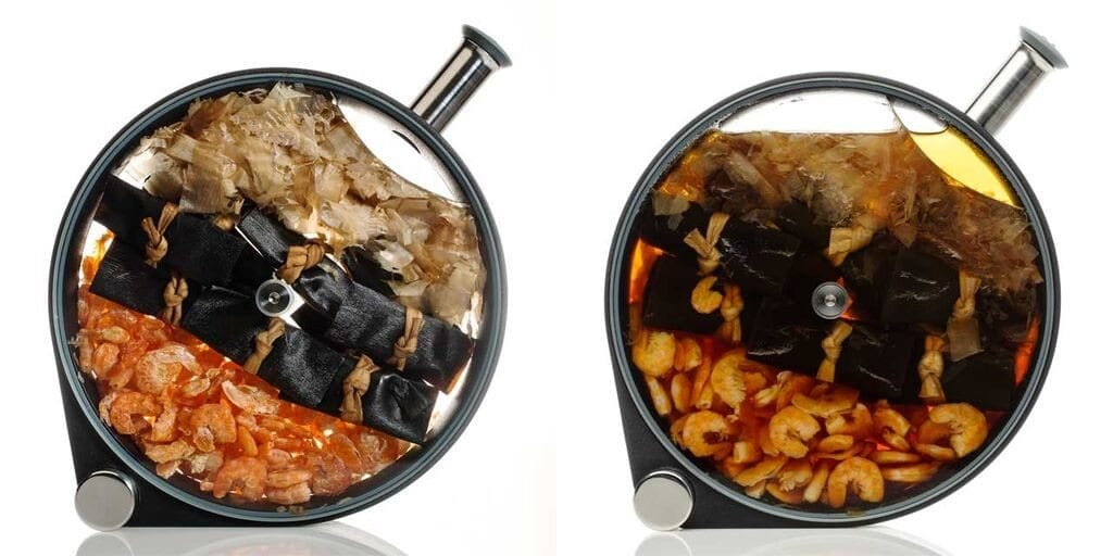 cold-infused dashi made in a porthole infuser