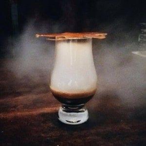 Salted caramel crisp, caramel mist, milk foam, espresso