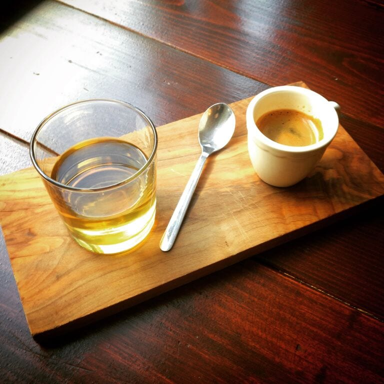 sparkling green tea served with espresso