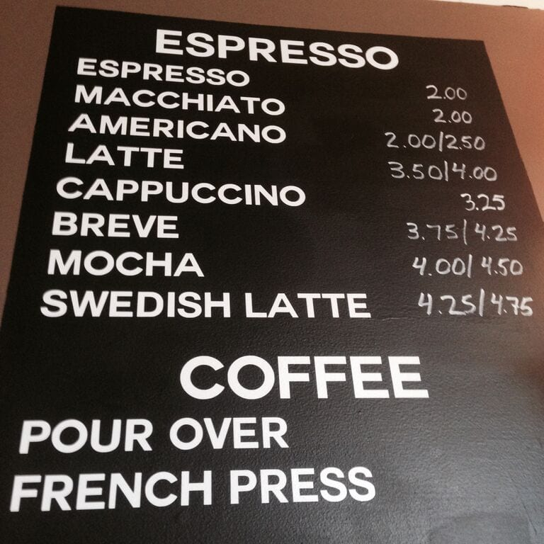 The menu should at a coffeshop