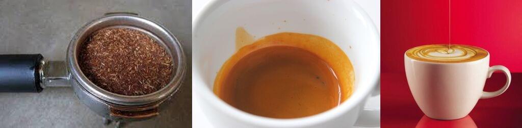 Rooibos in a portafilter, rooibos shot, rooibos cappuccino