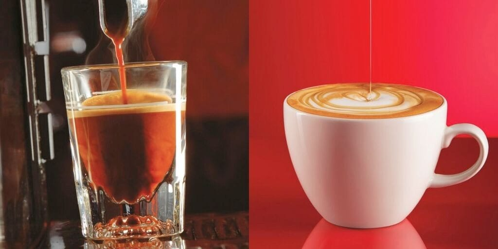 Red espresso shot and red espresso cappuccin