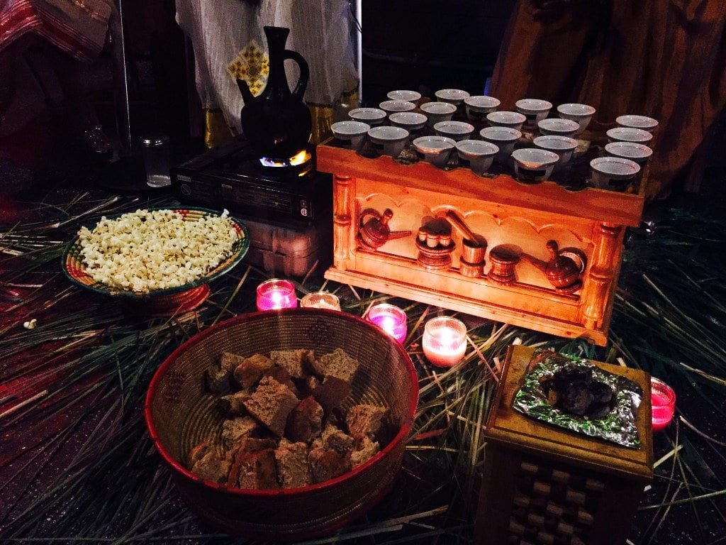 Ethiopian coffee ceremony, including salty popcorn.