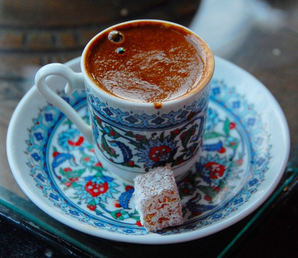 Bitter Turkish coffee with a sweet treat.