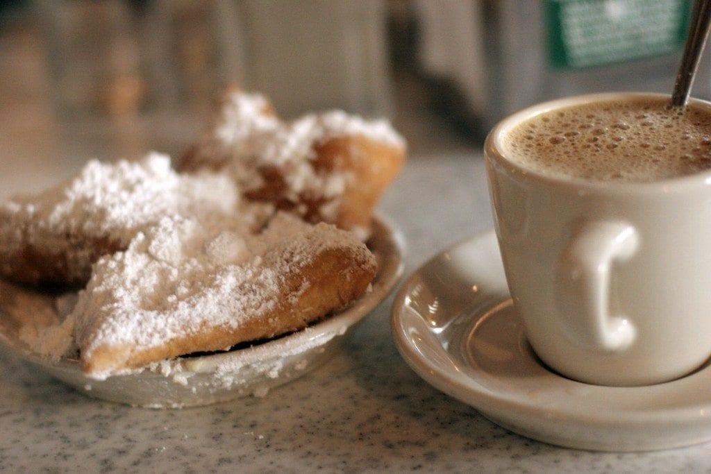 Café au lait and beignets