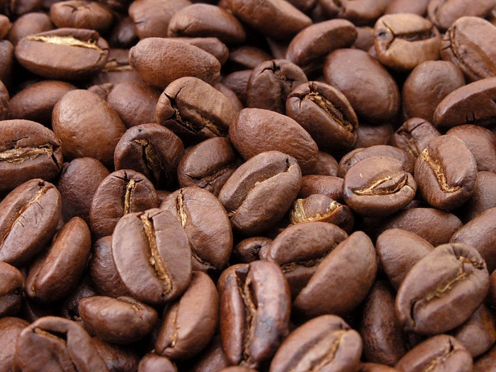 Freshly roasted coffee beans.