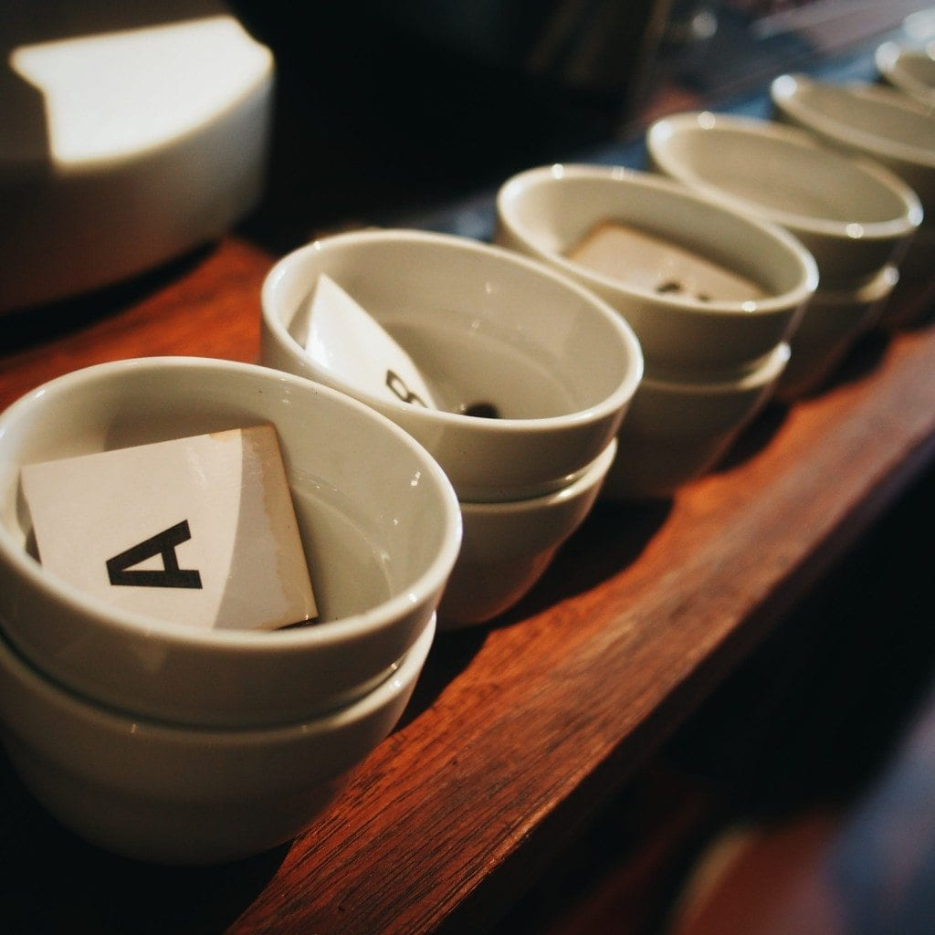 Cupping mugs set up