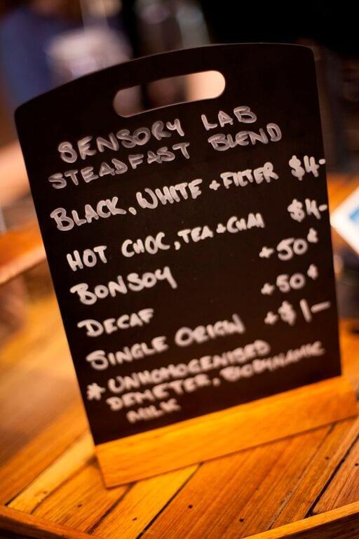 sensory lab menu