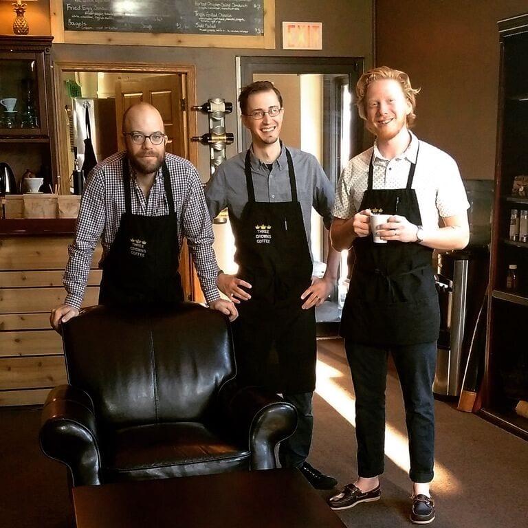 3 male baristas