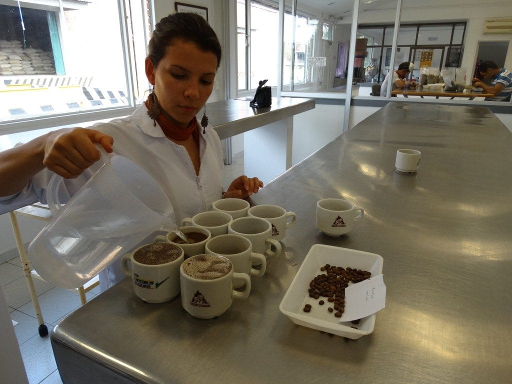 Cupping at the Colombian Coffee Federation.