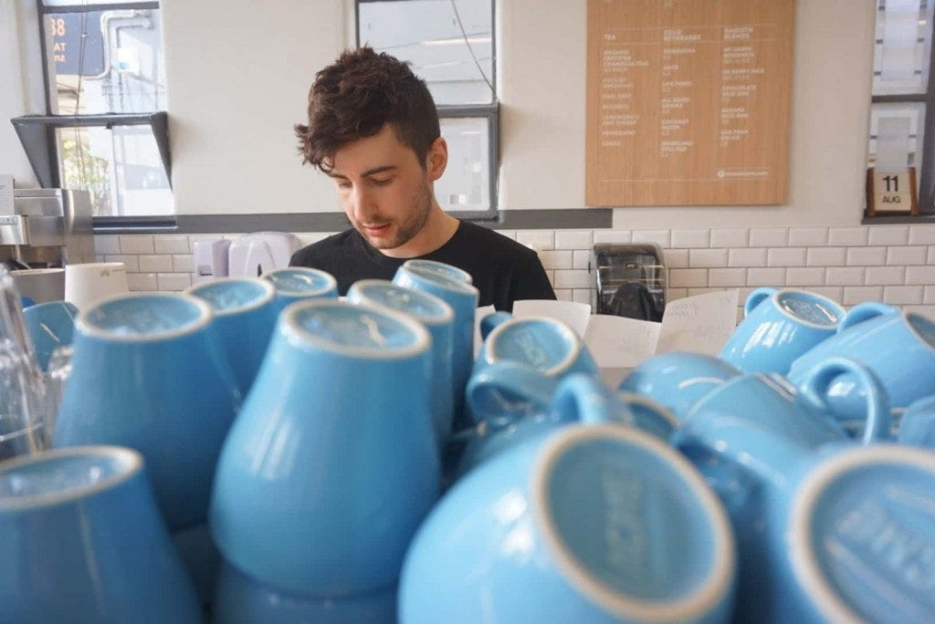 Blue coffee cups