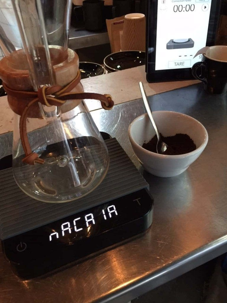 Acaia scale and chemex