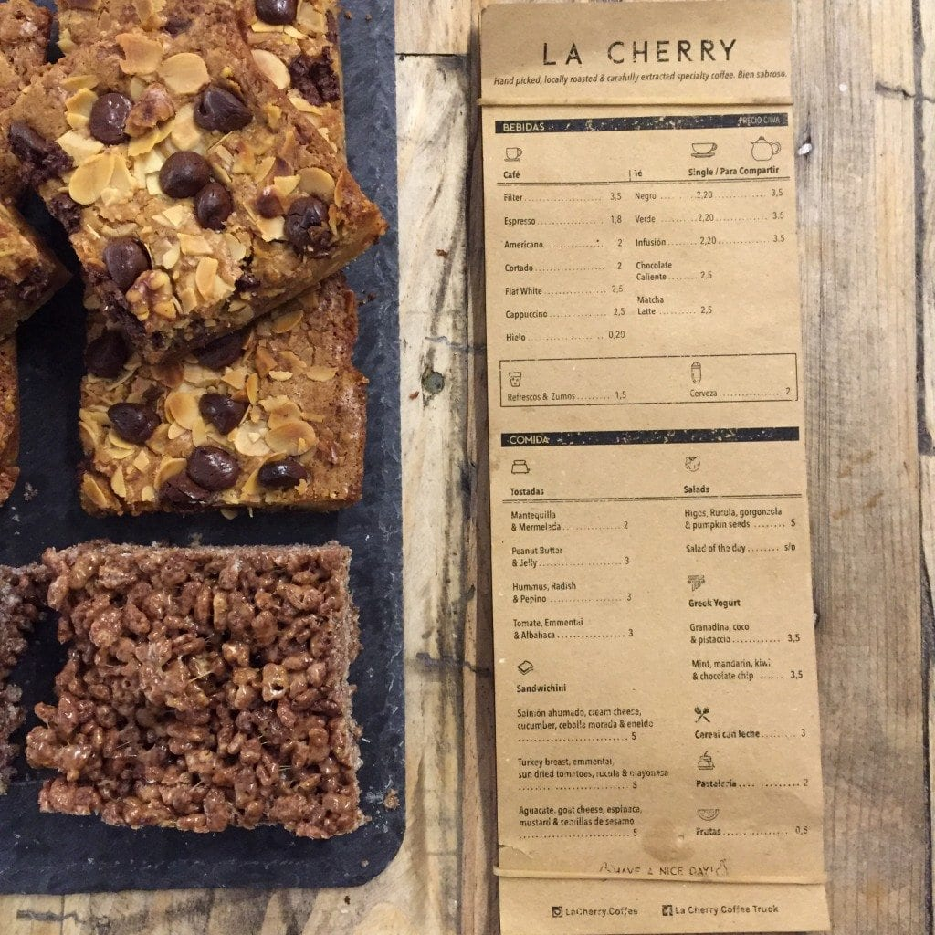 coffee menu and brownies