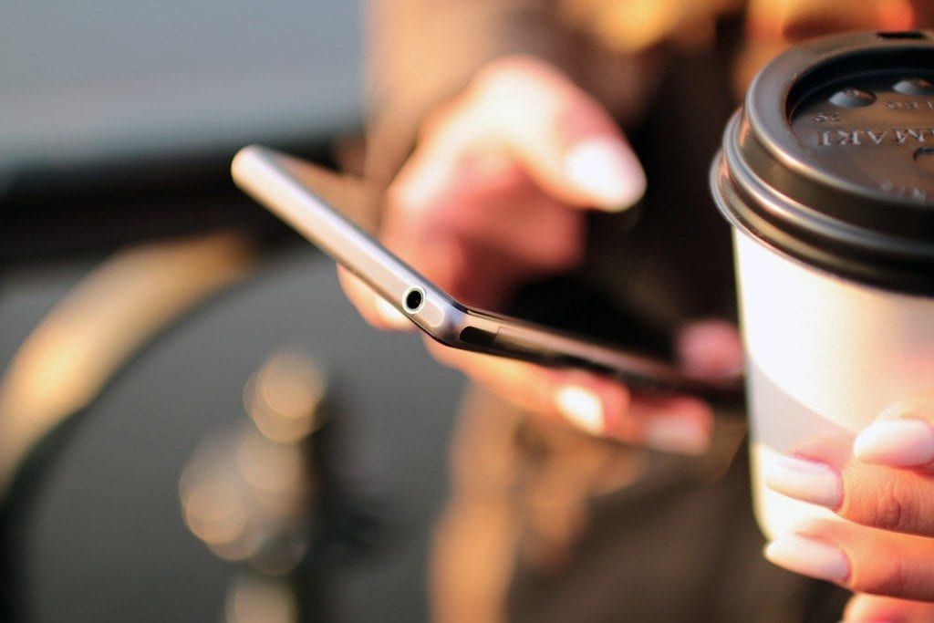 mobile and coffee