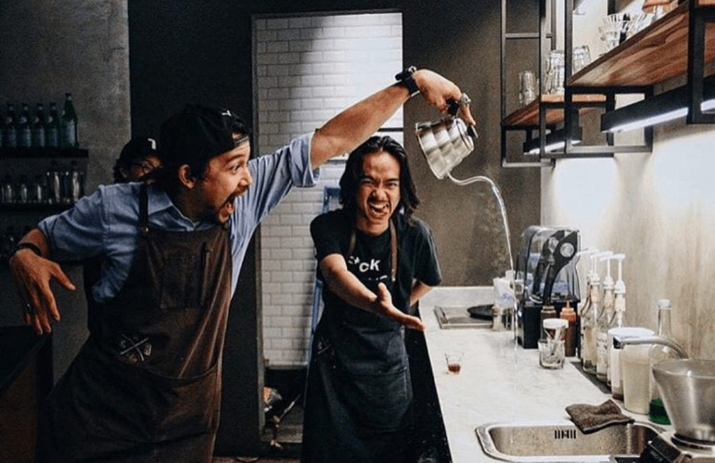 baristas having fun at work