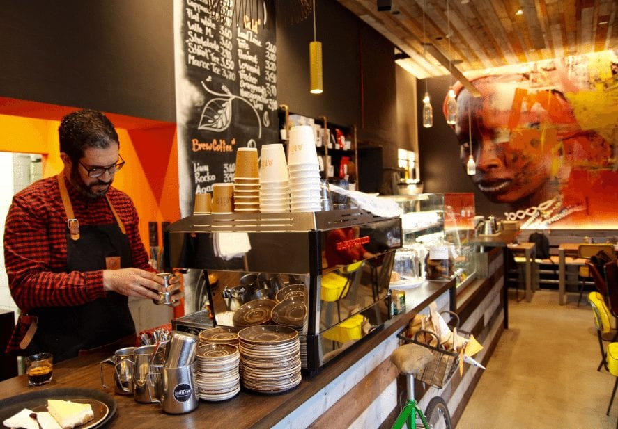 Barista at work at a coffee shop