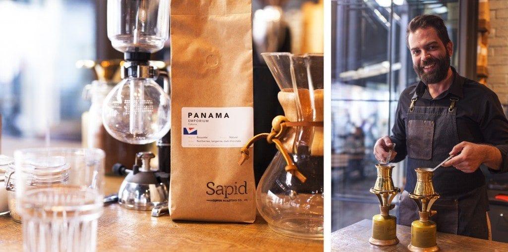 syphon, chemex, bag of coffee, and turkish coffee