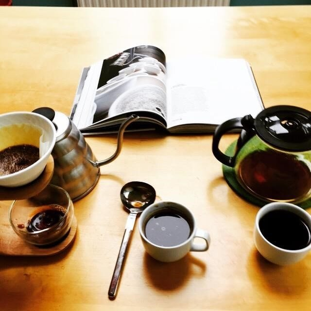 different filter coffees and a book