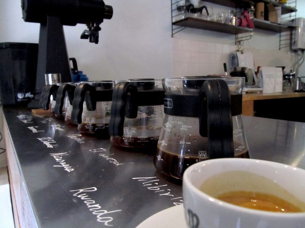 coffee samples in hario range servers