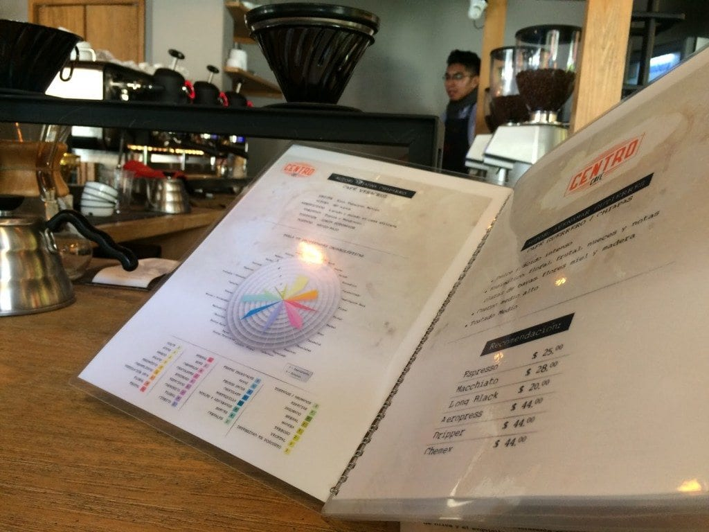 Centro coffee shop menu