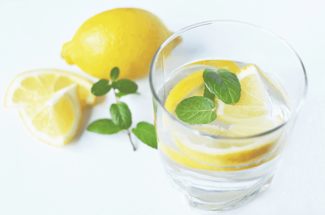 Fresh lemon water and mint