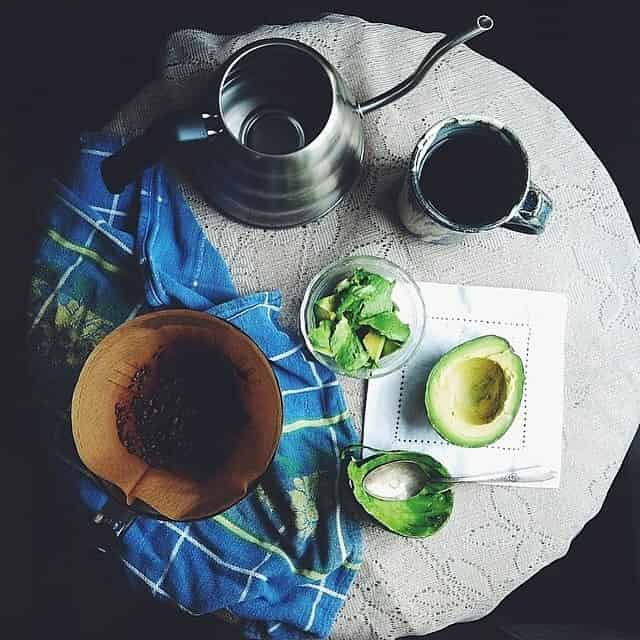 coffee and avocado toast