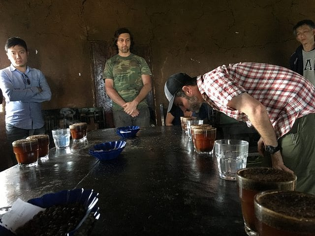 Cupping coffees picked and processed at Gesha Village, Ethiopia.