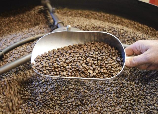 coffee in roaster