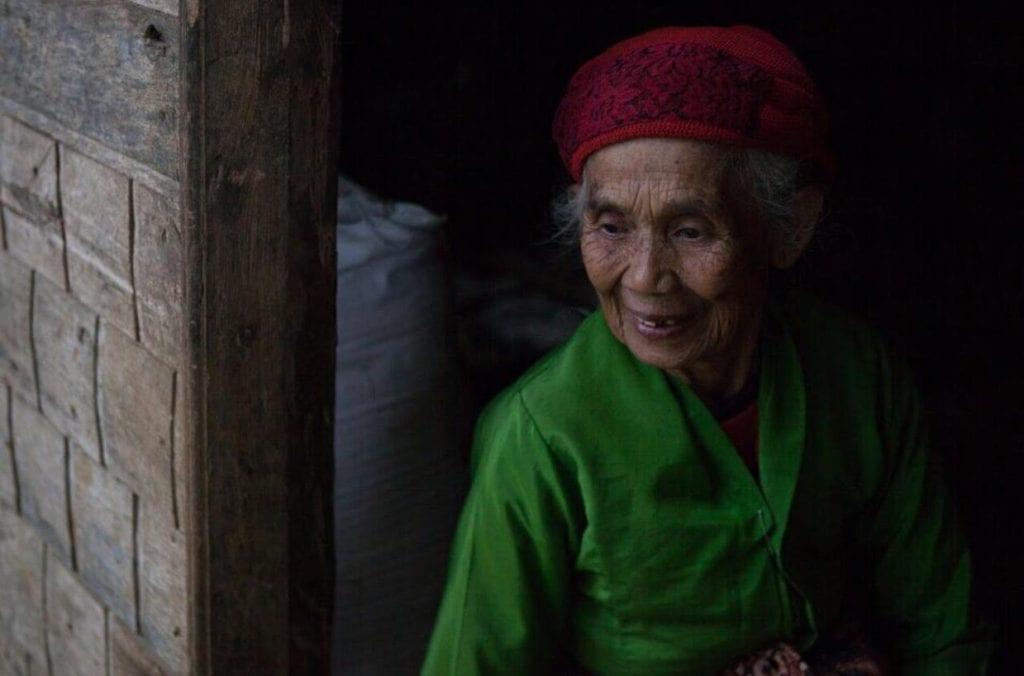 Elderly female Javanese coffee farmer