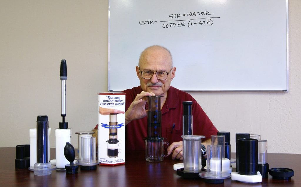 Alan Adler with all the AeroPress prototypes