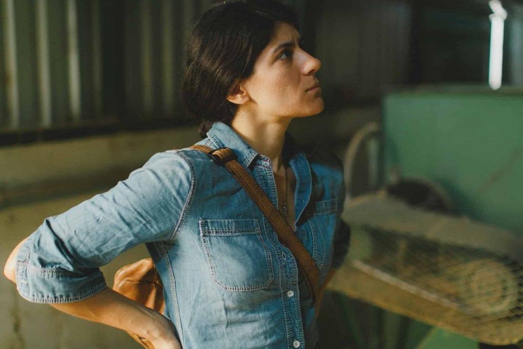 Woman in coffee warehouse