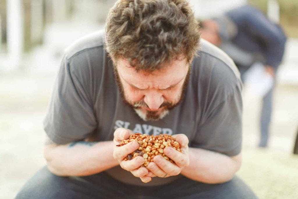 Man smelling coffee during processing