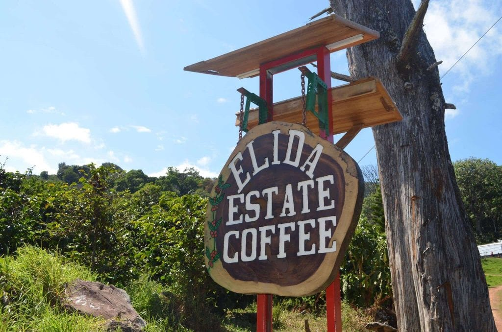 Sign saying Elida Estate Coffee