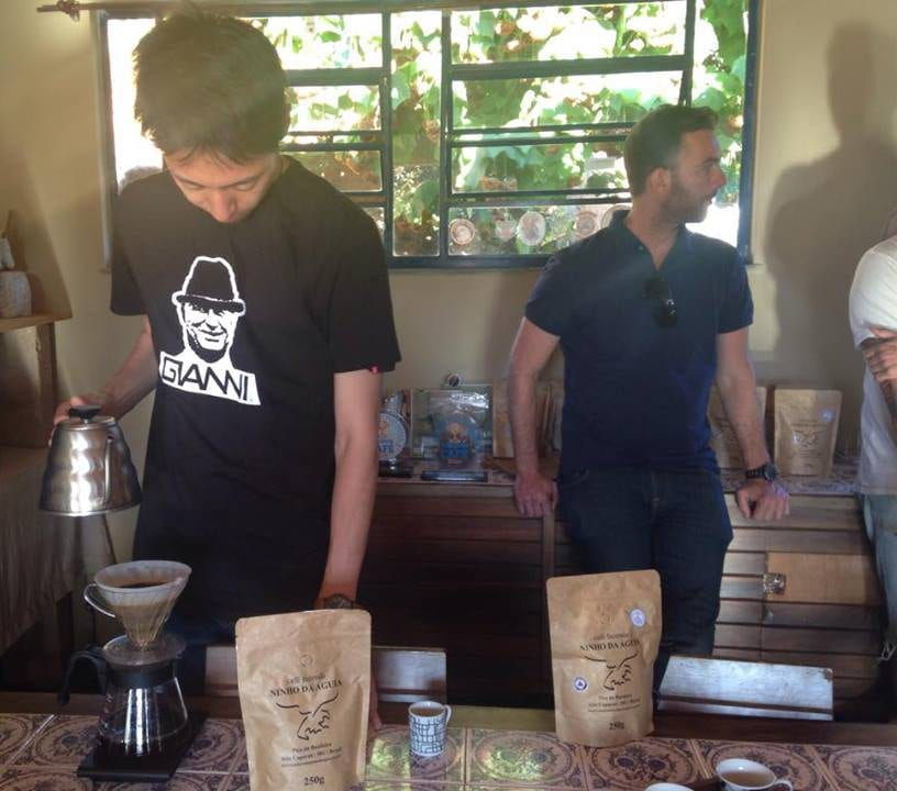 Tetsu makes coffee at Fazenda Ninho da Águia.