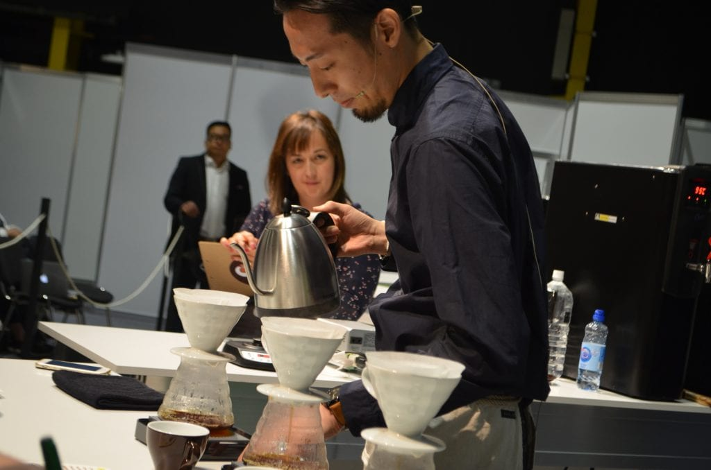 Tetsu Kasuya competing in the World Brewers Cup final.