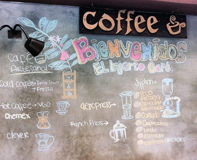 Menu in specialty cafe in Guatemala