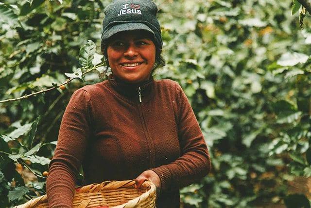 Female coffee farmer on farm